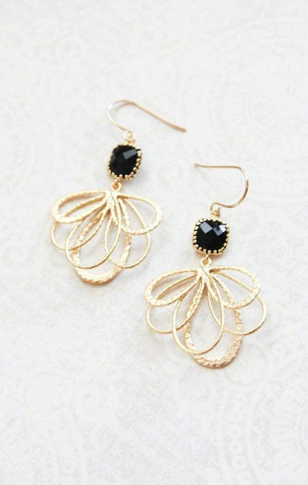 Gold Loop Earrings - Black