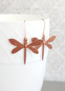 Dragonfly Earrings - Gold Brass
