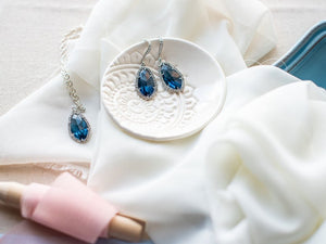 Navy Blue Glass Jewel Set NEW