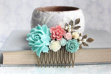 Load image into Gallery viewer, Aqua and Pink Floral Hair Comb - C1002
