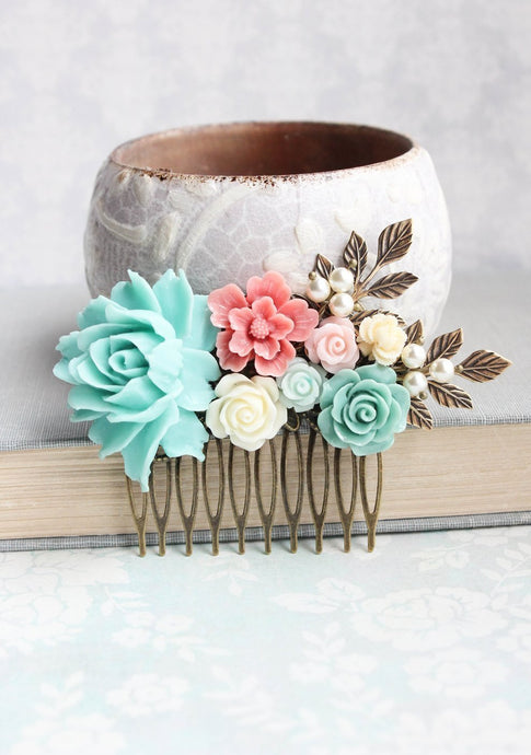 Aqua and Pink Floral Hair Comb - C1002