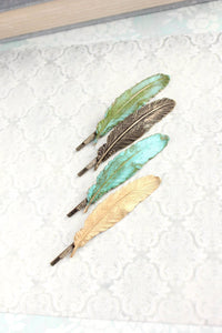 Rose Gold Feather Bobby Pins - 2 pc