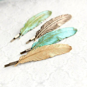 Verdigris Feather Bobby Pins - 2 pc