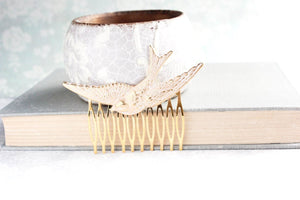 Bird Comb - White Patina