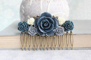 Grey and Navy Rose Comb - C1052