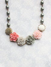 Load image into Gallery viewer, Sage Green and Pink Floral Necklace