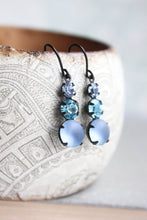 Load image into Gallery viewer, Blue Glass Drop Earrings