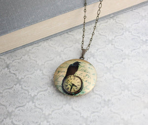 Raven Picture Locket Necklace