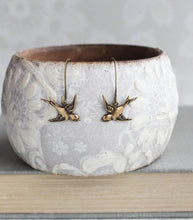 Load image into Gallery viewer, Small Bird Earrings - Gold Brass