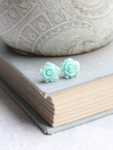Load image into Gallery viewer, Shimmer Rose Studs - Aqua Mint