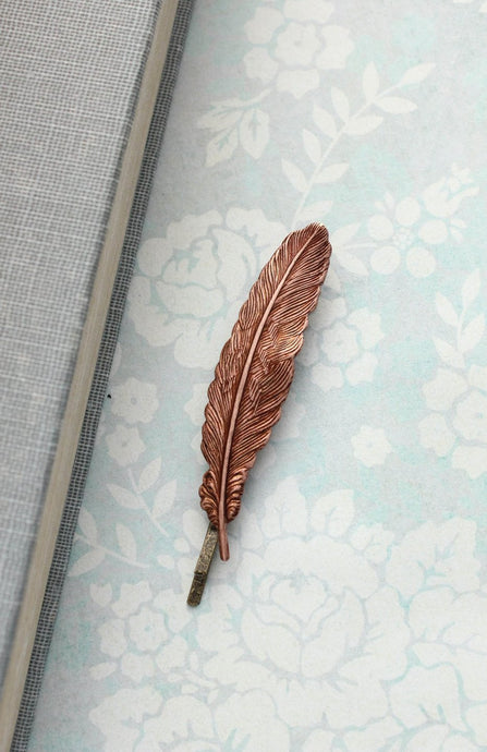 Copper Feather Bobby Pin