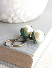 Load image into Gallery viewer, Pearl Acorn Earrings - Patina