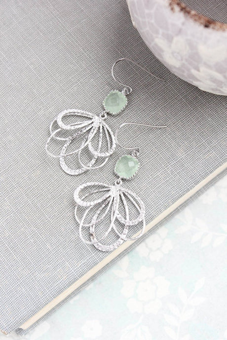 Silver Loop Earrings - Mint