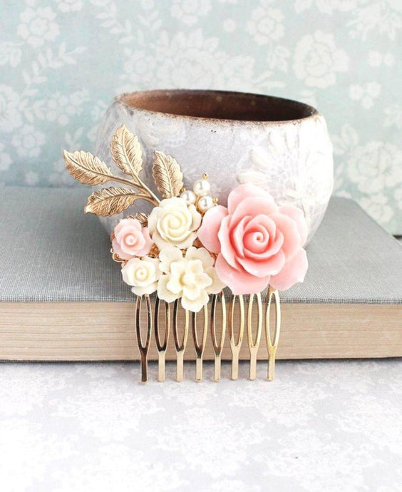 Blush Pink Rose Comb - C1019