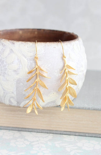 Leafy Branch Earrings - Matte Gold