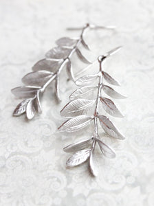 Leafy Branch Earrings - Matte Silver Rhodium
