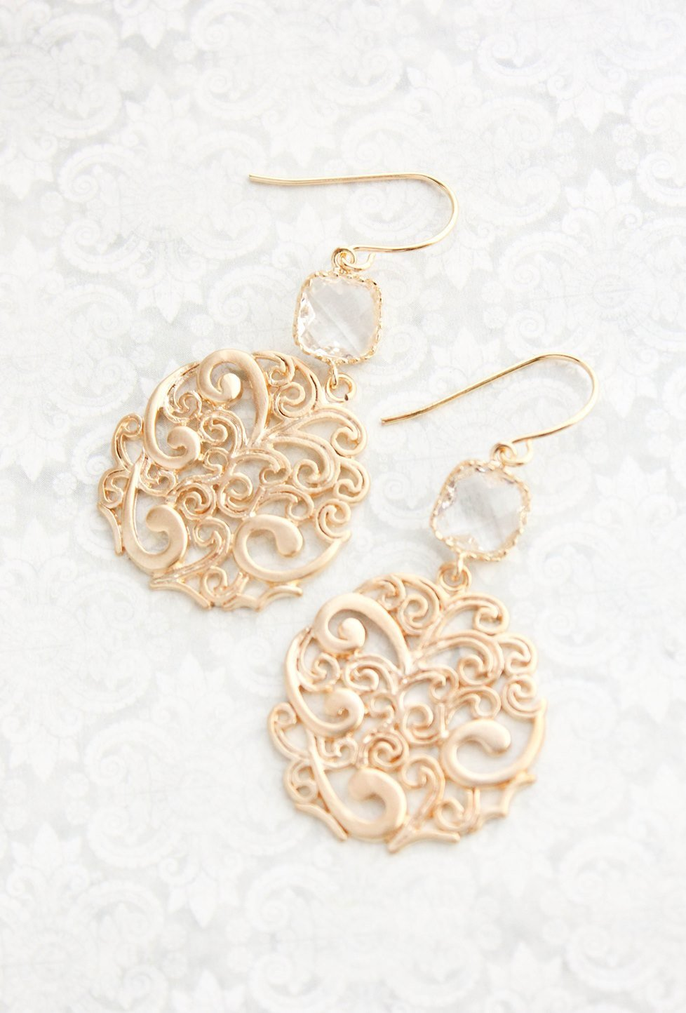 Gold Filigree Earrings - Clear Glass