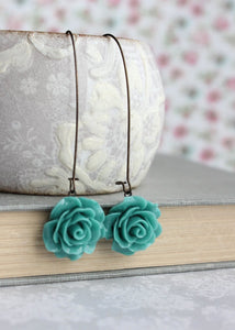 Deep Teal Rose Earrings