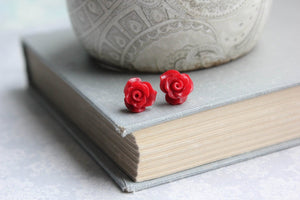 Ruffle Rose Studs - Red