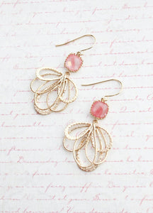 Gold Loop Earrings - Grapefruit