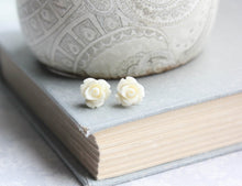 Load image into Gallery viewer, Tiny Rose Stud Earrings - Ivory Cream