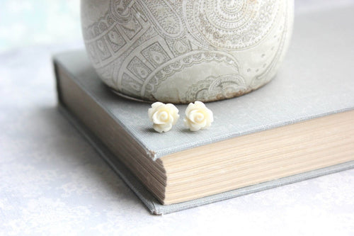 Tiny Rose Stud Earrings - Ivory Cream