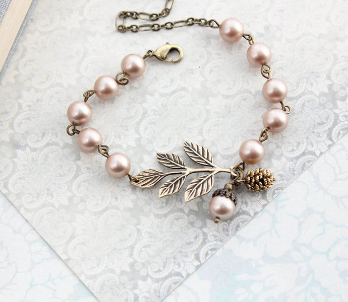 Branch Bracelet - Almond Blush Pearls