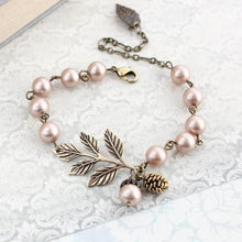 Load image into Gallery viewer, Branch Bracelet - Almond Blush Pearls
