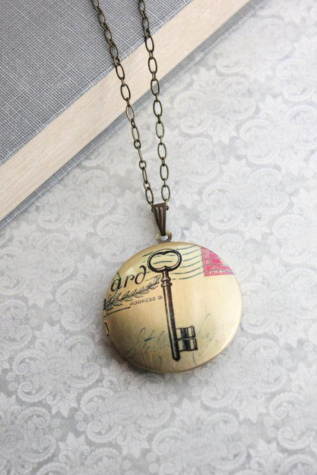 Skeleton Key Photo Locket
