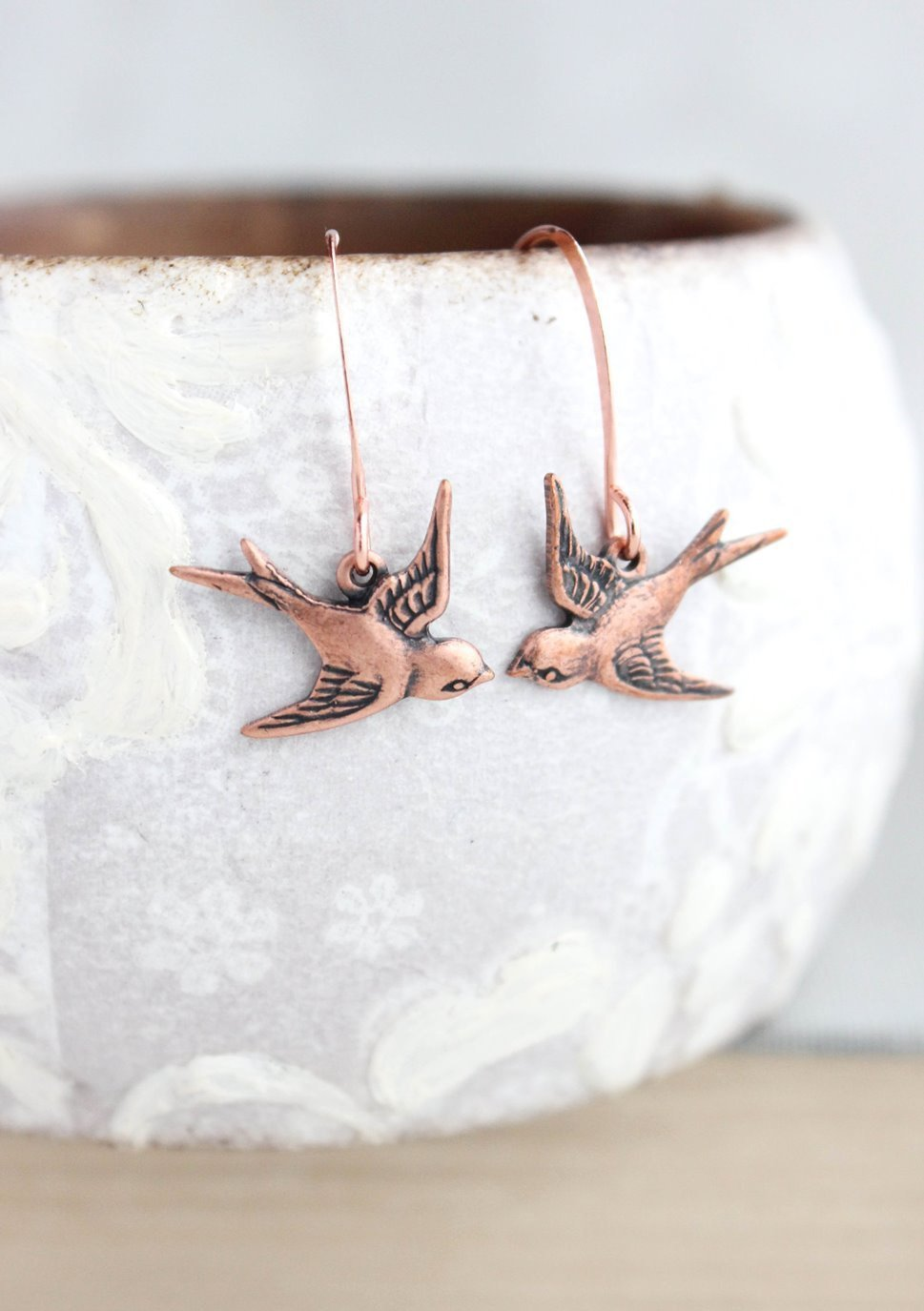Flying Bird Earrings - Antiqued Copper