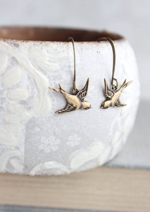 Small Bird Earrings - Gold Brass