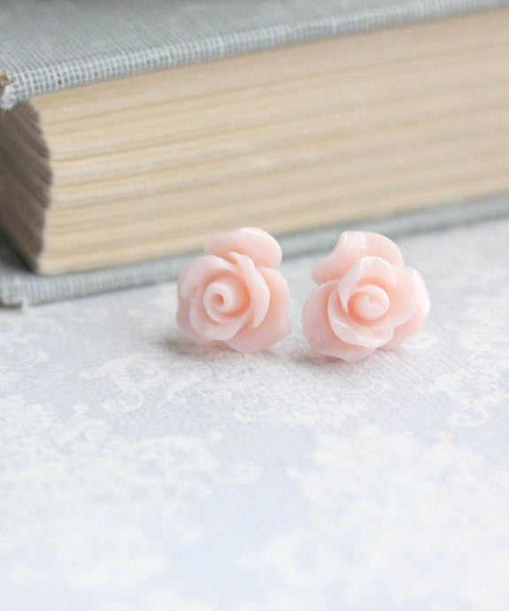 Ruffle Rose Studs - Light Pink