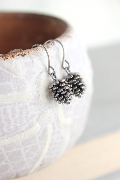 Rustic Silver Pinecone Earrings