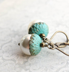 Pearl Acorn Earrings - Patina