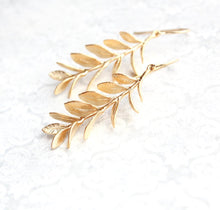 Load image into Gallery viewer, Leafy Branch Earrings - Matte Gold