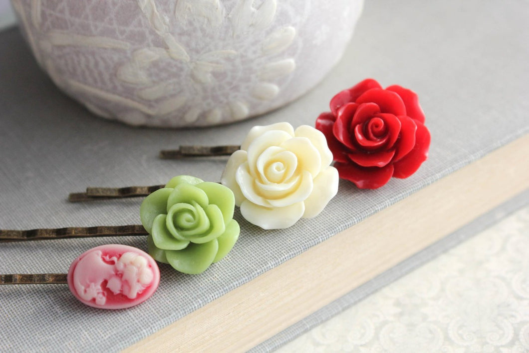 Red Rose Bobby Pins - BP1212