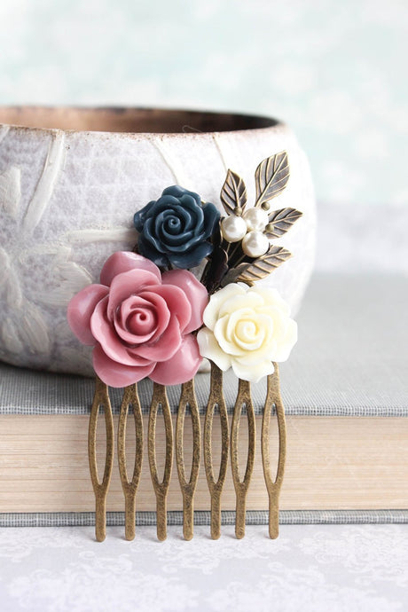 Dusty Rose Flower Comb - C1062