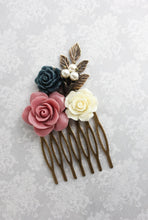 Load image into Gallery viewer, Dusty Rose Flower Comb - C1062