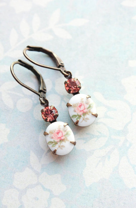 Pink Rose Cameo Earrings
