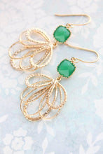 Load image into Gallery viewer, Gold Loop Earrings - Jade Green