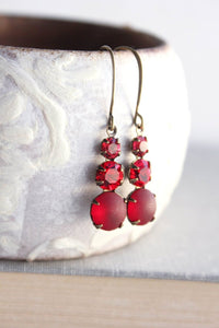 Three Jewel Earrings - Ruby Red