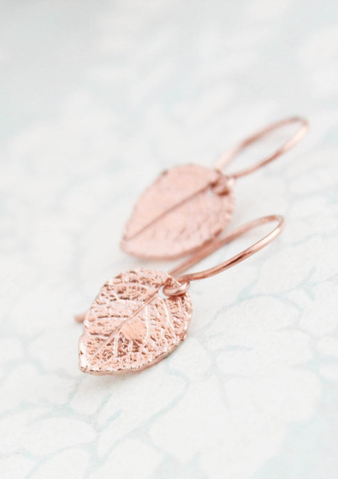 Tiny Rose Gold Leaf Earrings