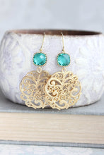 Load image into Gallery viewer, Teal and Gold Filigree Earrings