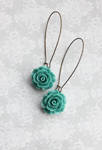 Load image into Gallery viewer, Deep Teal Rose Earrings