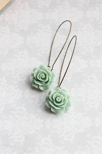 Dusty Mint Rose Earrings
