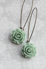 Load image into Gallery viewer, Dusty Mint Rose Earrings
