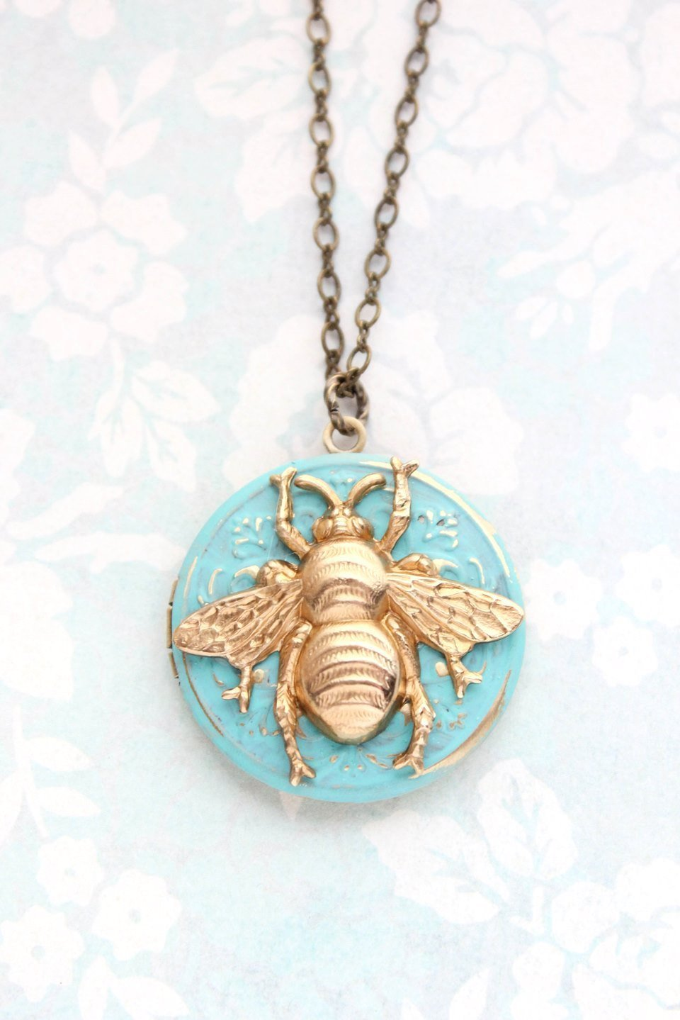 Bee Locket Necklace - Aqua Patina