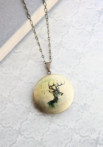 Deer Photo Locket Necklace