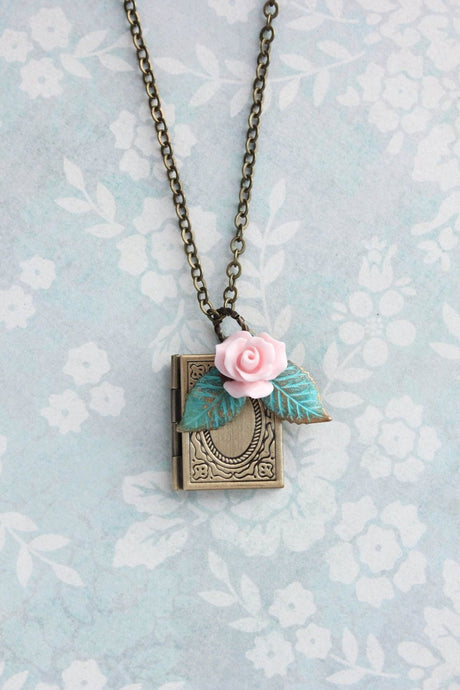Book Locket - Pink Rose