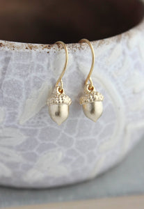 Tiny Silver Acorn Earrings